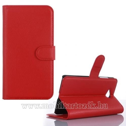 Notesz tok / flip tok - asztali tartó funkciós, oldalra nyíló, rejtett mágneses záródás, bankkártyatartó zseb - PIROS - MICROSOFT Lumia 650