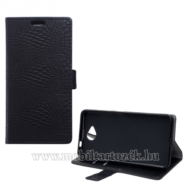 Notesz tok / flip tok - krokodilbőr mintás, asztali tartó funkciós, oldalra nyíló, rejtett mágneses záródás - FEKETE - MICROSOFT Lumia 650