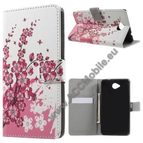 Notesz tok / flip tok - VIRÁG MINTÁS - asztali tartó funkciós, oldalra nyíló, rejtett mágneses záródás, bankkártya tartó zsebekkel - FEHÉR / RÓZSASZÍN - MICROSOFT Lumia 650