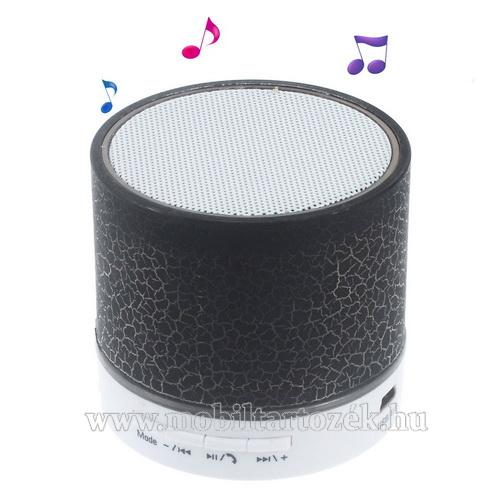 Hordozható bluetooth hangszóró - FEKETE - v2.1, microSD foglalat, mikrofon, kihangosító funkció, 3,5 jack aljzat