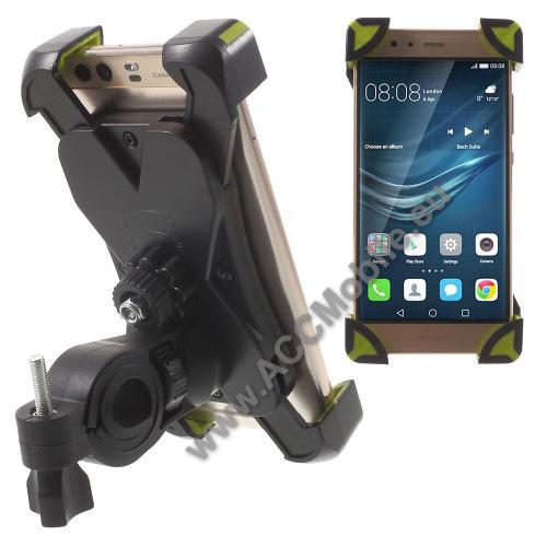 HUAWEI P8 liteX-TREME telefon tartó kerékpár / bicikli - FEKETE / ZÖLD - UNIVERZÁLIS - elforgatható - 180-92 mm-ig nyíló bölcsővel
