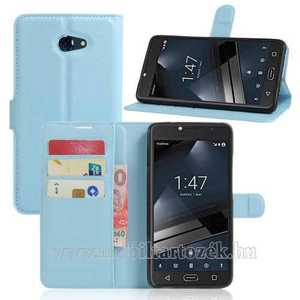 WALLET notesz tok / flip tok - VILÁGOSKÉK - asztali tartó funkciós, oldalra nyíló, rejtett mágneses záródás, bankkártya tartó zseb, szilikon belső - Vodafone Smart ultra 7
