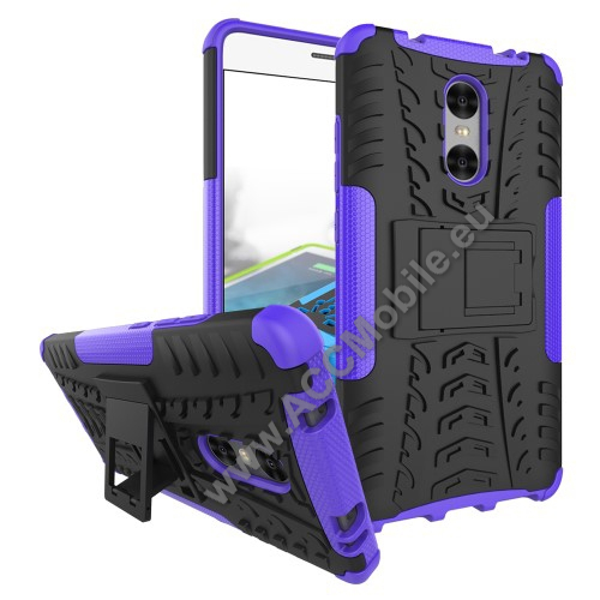 OTT! VROOM műanyag védő tok / hátlap - AUTÓGUMI MINTÁS - FEKETE / LILA - szilikon betétes, asztali tartó funkciós, ERŐS VÉDELEM! - Xiaomi Redmi Pro