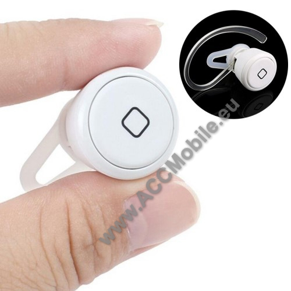 SUPER MINI BLUETOOTH HEADSET - v3.0, 1db fülgumi, 1db fülkampó, microUSB töltő kábellel! - FEHÉR