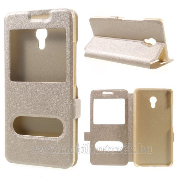 Műanyag védő tok / hátlap - ARANY - oldalra nyíló s-view cover flip, asztali tartó funkció, mágneses záródás, hívásfelvétel - Meizu M5