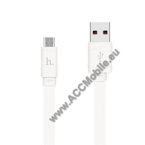 HUAWEI P8HOCO X5 2.4A adatátvitel adatkábel / USB töltő - USB / microUSB, 1m - lapos kábel kivitelű - FEHÉR