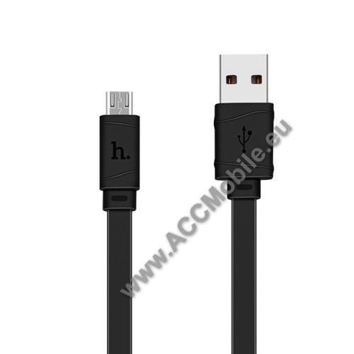 HUAWEI MediaPad T5 10HOCO X5 2.4A adatátvitel adatkábel / USB töltő - USB / microUSB, 1m - lapos kábel kivitelű - FEKETE