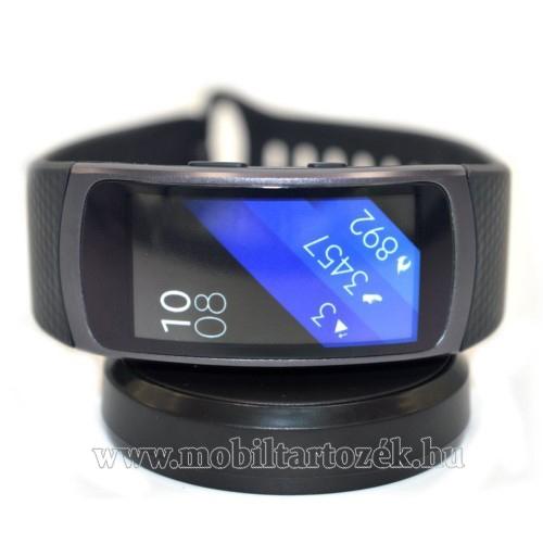 Asztali töltő állvány / dokkoló - FEKETE - SAMSUNG Galaxy Gear Fit 2 SM-R360 / Samsung Gear Fit 2 Pro SM-R365