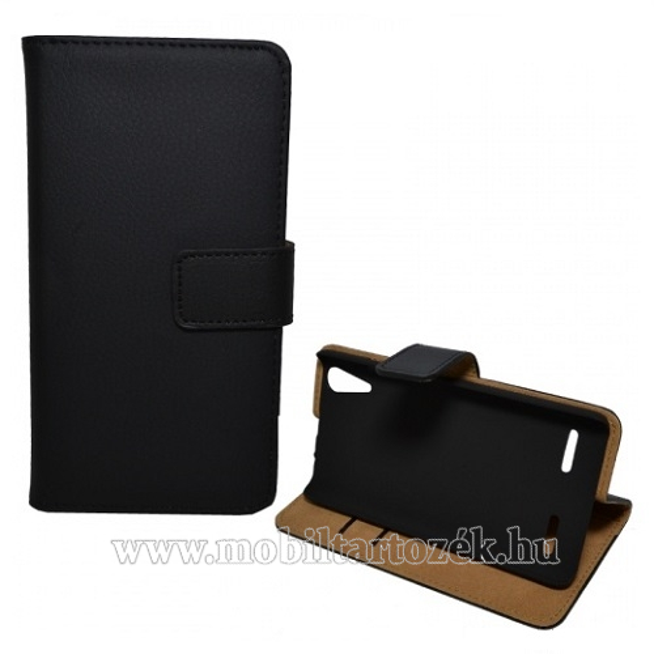 Notesz tok / flip tok - asztali tartó funkciós, oldalra nyíló, rejtett mágneses záródás - FEKETE - Lenovo K3 / Lenovo A6000