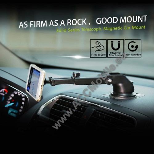 BASEUS Solid Series autós tartó / állvány - 360°-ban forgatható, 9,5-14cm-ig állítható teleszkópos kar, mágneses, tapadókorongos - EZÜST - GYÁRI