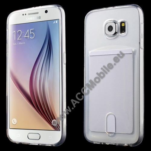 Szilikon védő tok / hátlap - ÁTLÁTSZÓ - bankkártyatartó - SAMSUNG SM-G920 Galaxy S6