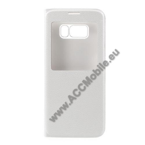 Notesz / flip tok - FEHÉR - oldalra nyíló ablakos flip cover - SAMSUNG SM-G955 Galaxy S8 Plus