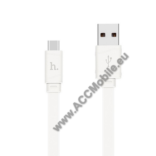APPLE iPad Pro 11 (2018)HOCO 2.4A adatátviteli kábel / USB töltő - USB 3.1 Type C, 1m, lapos kivitel - FEHÉR