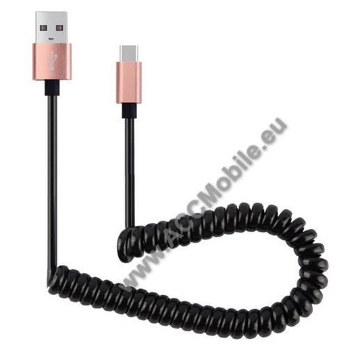 Adatátvitel adatkábel és USB töltõ - spirál kábel - USB / Type C, 90cm, USB 2.0 - FEKETE / ROSE GOLD
