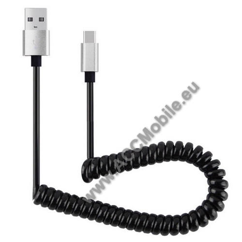 Adatátvitel adatkábel és USB töltõ - spirál kábel - USB / Type C, 90cm, USB 2.0 - FEKETE / EZÜST