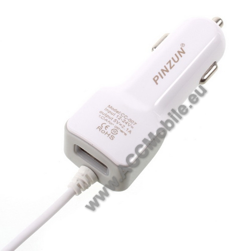 PINZUN szivargyújtós töltő / autós töltő - FEHÉR - microUSB, gyors töltő, 5V/2.1A, EXTRA USB aljzat - GYÁRI