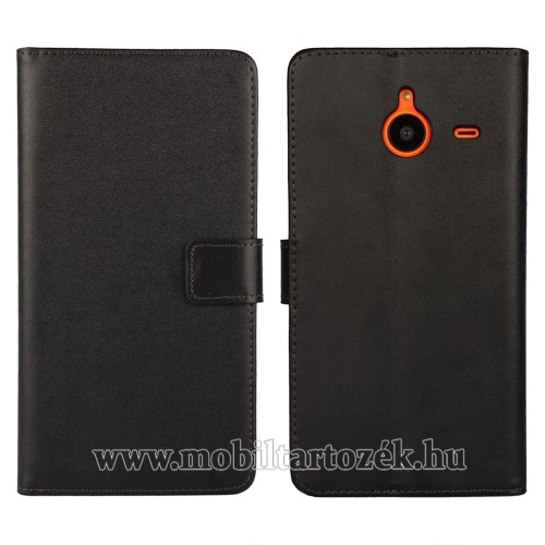 Notesz tok / flip tok - asztali tartó funkciós, oldalra nyíló, rejtett mágneses záródás - FEKETE - MICROSOFT Lumia 640 XL / Lumia 640 XL Dual SIM / Lumia 640 XL LTE / Lumia 640 XL LTE Dual SIM