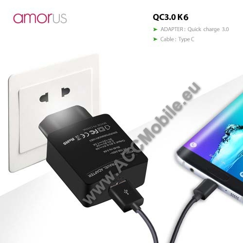 APPLE iPad Pro 11 (2018)AMORUS K6 hálózati töltő USB aljzattal - Qualcomm quick charge 3.0 (6.5V-9V/2A 9V-12V/1.5A) és 3.6V-6.5V/3A, 1m-es Type-C töltő kábellel - FEKETE - GYÁRI