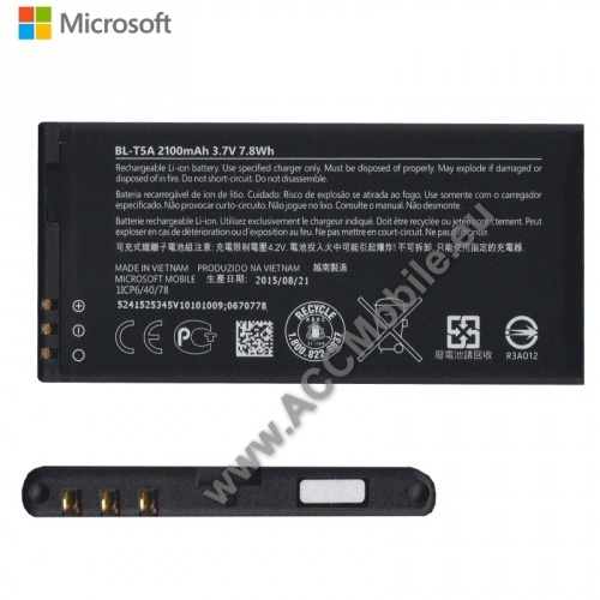 MICROSOFT Lumia 550 akkumulátor - 2100mAh Li-ION - BL-T5A / 0670778 - GYÁRI