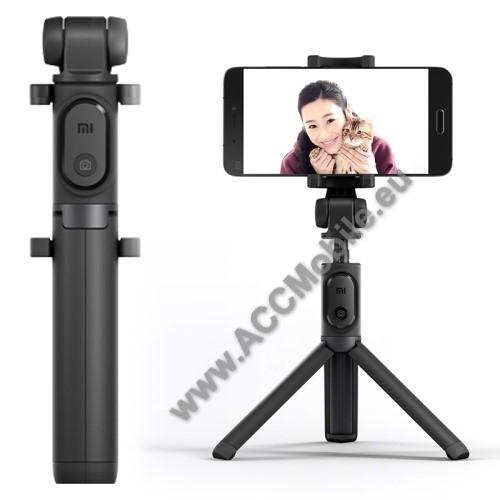 HUAWEI P8XIAOMI tripod állvány és Selfie bot - Beépített Bluetooth kioldóval, 360 fokban forgatható bölcső, 56-89mm-ig állítható - FEKETE