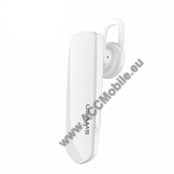 USAMS US-LF001 LF Series Bluetooth headset / james bond - v.4.1+EDR, zajszűrő - FEHÉR - GYÁRI