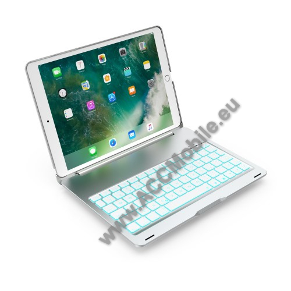 SLIM notesz / mappa tok - EZÜST - alumínium ötvözet, beépített ANGOL nyelvű bluetooth billentyűzet, asztali állvány - APPLE iPad Pro 10.5 (2017)
