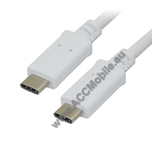2A adatátviteli kábel / USB töltő - USB Type-C / USB Type-C - 1m - FEHÉR