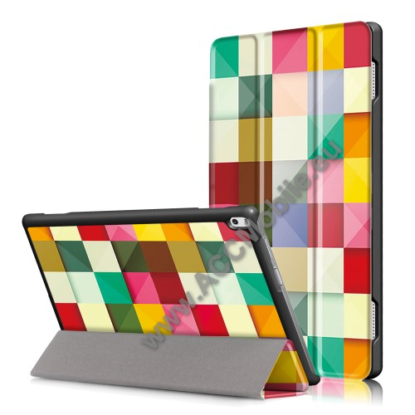 Notesz / mappa tok - oldalra nyíló flip cover, TRIFOLD asztali tartó funkció, mágneses záródás - SZÍNES NÉGYZET MINTÁS - Lenovo Tab 4 10 Plus