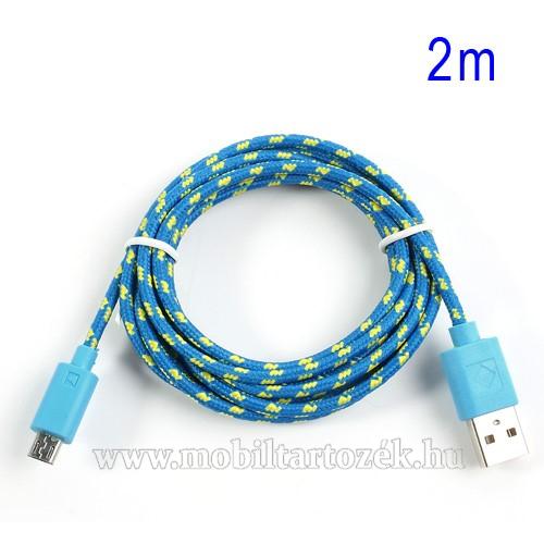 Adatátviteli kábel / USB töltő - microUSB 2.0, 2m hosszú, 1A - KÉK