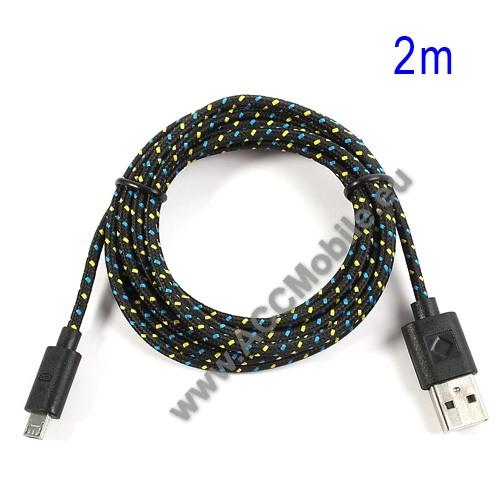 HUAWEI P8 liteAdatátviteli kábel / USB töltő - microUSB 2.0, 2m hosszú, 1A - FEKETE