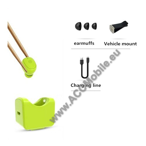 C1 SUPER MINI Bluetooth headset / james bond - ZÖLD - Töltőállomással / szellőzőrácsra rögzíthető tartóval