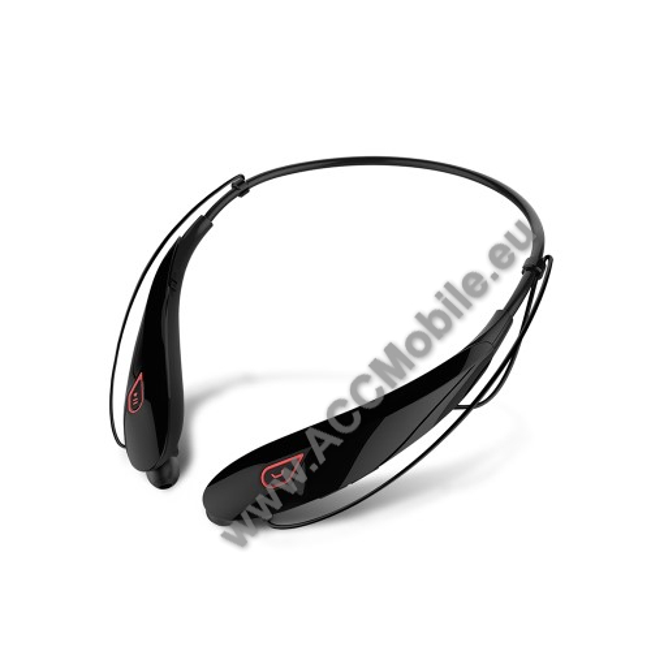 Y98 Vezeték nélküli Bluetooth sztereó headset - Fülbe illeszkedő kialakítás, Bluetooth 4.1, nyakpánt, felvevőgomb - FEKETE / PIROS