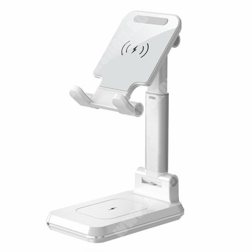 2 az 1-ben Airpods és iPhone asztali tartó / állvány Qi Wireless töltő funkcióval - 10W, gyorstöltés támogatás, összecsukható, Type-C bemenet, állítható magasság, dönthető - FEHÉR