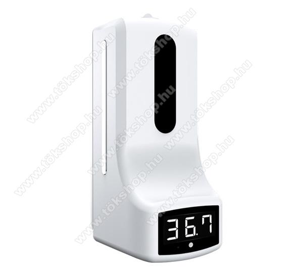 2 az 1-ben Folyékony szappan adagoló / alkoholos fertőtlenítő / hőmérő - 1000ml, műanyag, hőmérő funkció, automata szenzor, digitális kijelző, falra rögzíthető, 119 x 133 x 280mm - FEHÉR