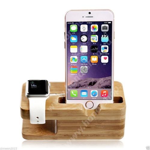 HUAWEI Honor V40 5G 2 az 1-ben Telefon asztali tartó és Apple Watch QI Wireless állvány töltő tartó kialakítással - csúszásgátló, bambuszfából készült, 140 x 55 x 60mm, a töltő NEM TARTOZÉK! - BARNA