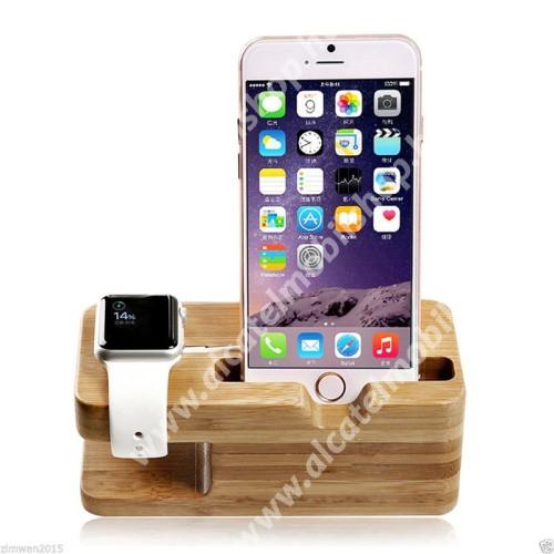 ALCATEL OT-208 2 az 1-ben Telefon asztali tartó és Apple Watch QI Wireless állvány töltő tartó kialakítással - csúszásgátló, bambuszfából készült, 140 x 55 x 60mm, a töltő NEM TARTOZÉK! - BARNA