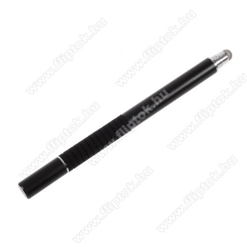ZTE S302 in 1 érintőképernyő ceruza - kapacitív kijelzőhöz, érintőpárnával és érintőtányérral is, KÉZÍRÁSRA, RAJZOLÁSRA ALKALMAS - FEKETE