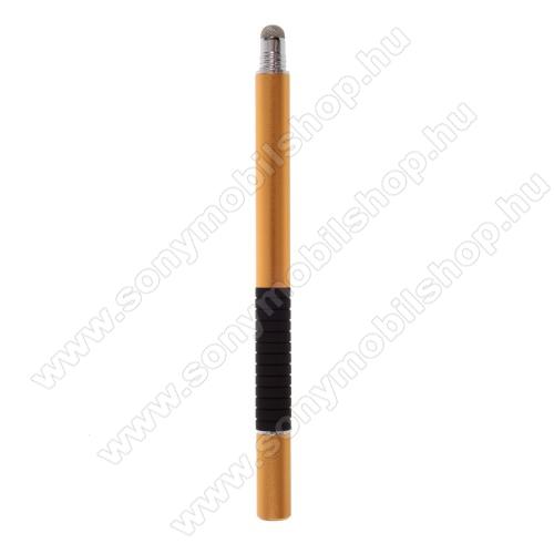 SONY Xperia Z3 Tablet Compact (SGP621)2 in 1 érintőképernyő ceruza - kapacitív kijelzőhöz, érintőpárnával és érintőtányérral is, KÉZÍRÁSRA, RAJZOLÁSRA ALKALMAS - ARANY