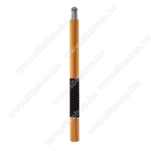 2 in 1 érintőképernyő ceruza - kapacitív kijelzőhöz, érintőpárnával és érintőtányérral is, KÉZÍRÁSRA, RAJZOLÁSRA ALKALMAS - ARANY