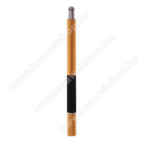 HUAWEI MediaPad 7 Vogue2 in 1 érintőképernyő ceruza - kapacitív kijelzőhöz, érintőpárnával és érintőtányérral is, KÉZÍRÁSRA, RAJZOLÁSRA ALKALMAS - ARANY