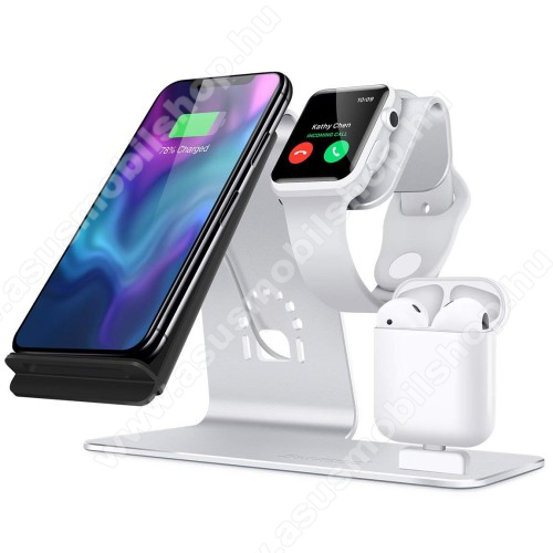 3 az 1-ben Apple Watch, Airpods és iPhone asztali tartó Qi Wireless asztali töltő funkcióval, 10W, gyors töltés - Apple Watch vezetéknélküli töltő NEM TARTOZÉK! - EZÜST