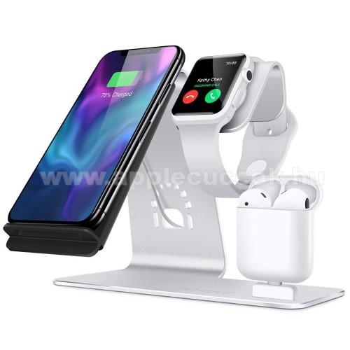 APPLE Watch Series 2 38mm3 az 1-ben Apple Watch, Airpods és iPhone asztali tartó Qi Wireless asztali töltő funkcióval, 10W, gyors töltés - Apple Watch vezetéknélküli töltő NEM TARTOZÉK! - EZÜST