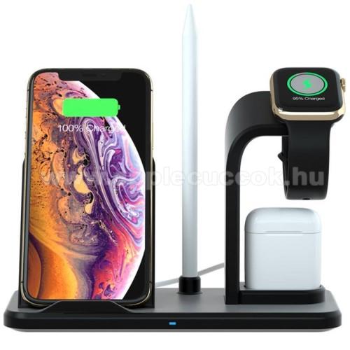 APPLE Watch Series 6 44mm3 az 1-ben Apple Watch, Airpods és iPhone asztali tartó Qi Wireless asztali töltő funkcióval, Apple Pencil tartóval - 10W, gyors töltés - Apple Watch vezetéknélküli töltő NEM TARTOZÉK! CSAK állvány! - FEKETE - 190 x 83 x 139mm