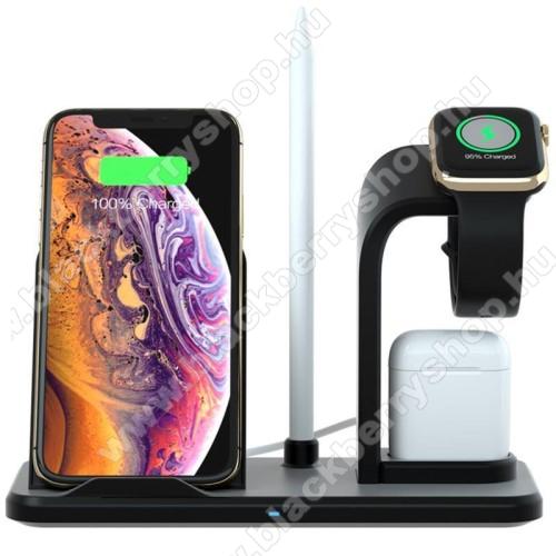 3 az 1-ben Apple Watch, Airpods és iPhone asztali tartó Qi Wireless asztali töltő funkcióval, Apple Pencil tartóval - 10W, gyors töltés - Apple Watch vezetéknélküli töltő NEM TARTOZÉK! CSAK állvány! - FEKETE - 190 x 83 x 139mm