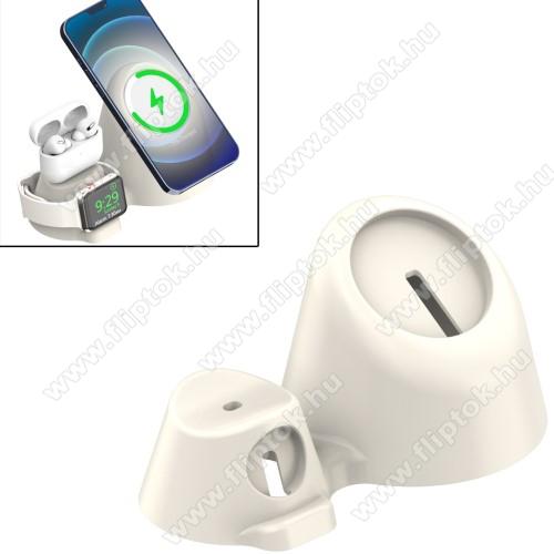 3 az 1-ben Apple Watch, Airpods és Iphone tartó szilikon asztali állvány / dokkoló Apple MagSafe-hez - szilikon, kábelelvezető, csúszásgátló, 35°-os szög, 170 x 99 x 85mm, a töltők NEM TARTOZÉKOK! - FEHÉR