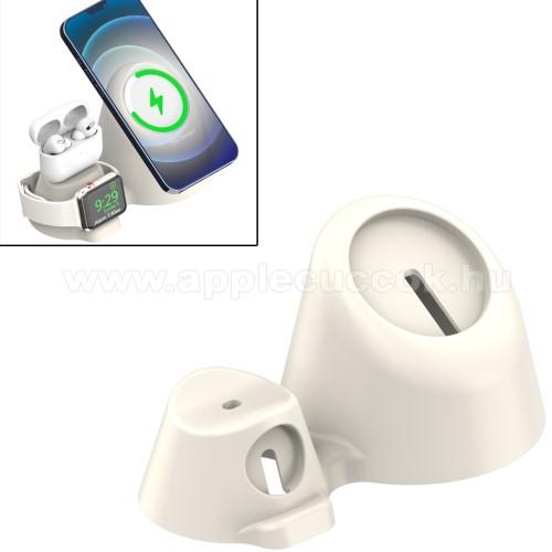Apple Watch Series 5 44mm3 az 1-ben Apple Watch, Airpods és Iphone tartó szilikon asztali állvány / dokkoló Apple MagSafe-hez - szilikon, kábelelvezető, csúszásgátló, 35°-os szög, 170 x 99 x 85mm, a töltők NEM TARTOZÉKOK! - FEHÉR