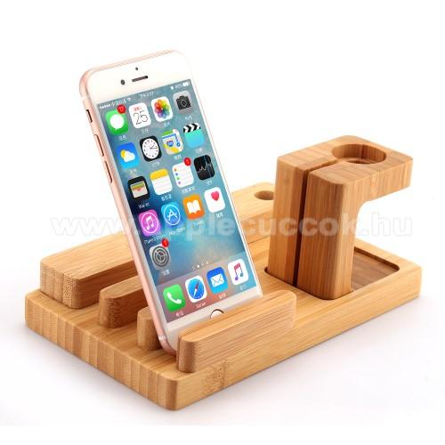 APPLE Watch Series 6 44mm3 az 1-ben Apple Watch, Ipad és iPhone asztali tartó Qi Wireless asztali töltő tartó kialakítással - 4 USB port, bambuszfából készült, tolltartó, csúszásgátló - BARNA