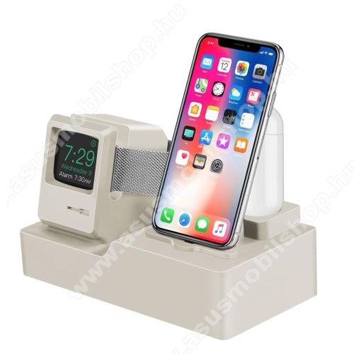 3 az 1-ben iPhone / Apple Watch / Airpods asztali töltő állvány / dokkoló - szilikon, kábelelvezető, a töltő NEM TARTOZÉK! - FEHÉR