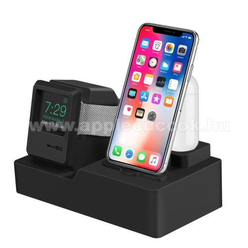 APPLE Watch Series 3 38mm3 az 1-ben iPhone / Apple Watch / Airpods asztali töltő állvány / dokkoló - szilikon, kábelelvezető, a töltő NEM TARTOZÉK! - FEKETE