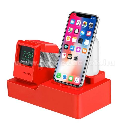 Apple Watch Series 5 44mm3 az 1-ben iPhone / Apple Watch / Airpods asztali töltő állvány / dokkoló - szilikon, kábelelvezető, a töltő NEM TARTOZÉK! - PIROS